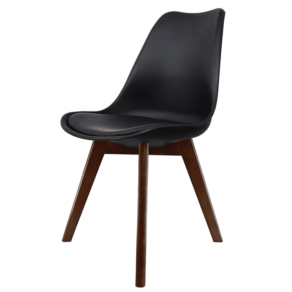 Eiffel inspired black plastic dining chair and squared for Dining chairs dark wood