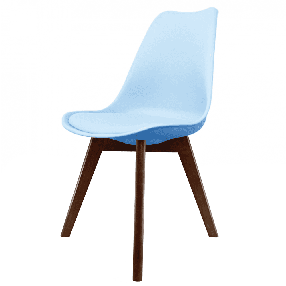 Eiffel inspired blue plastic dining chair with squared for Dining chairs dark wood