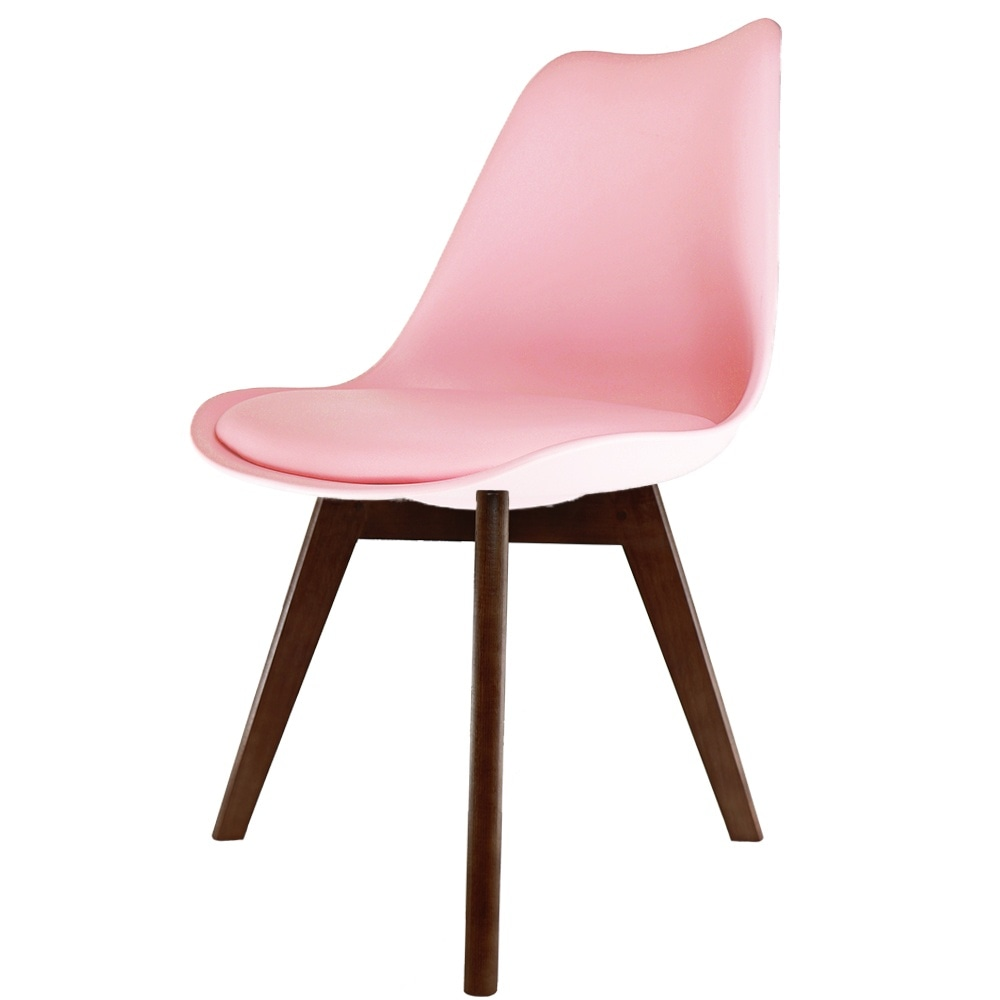 Groovy Eiffel Inspired Blush Pink Plastic Dining Chair With Squared Dark Wood Legs Dailytribune Chair Design For Home Dailytribuneorg
