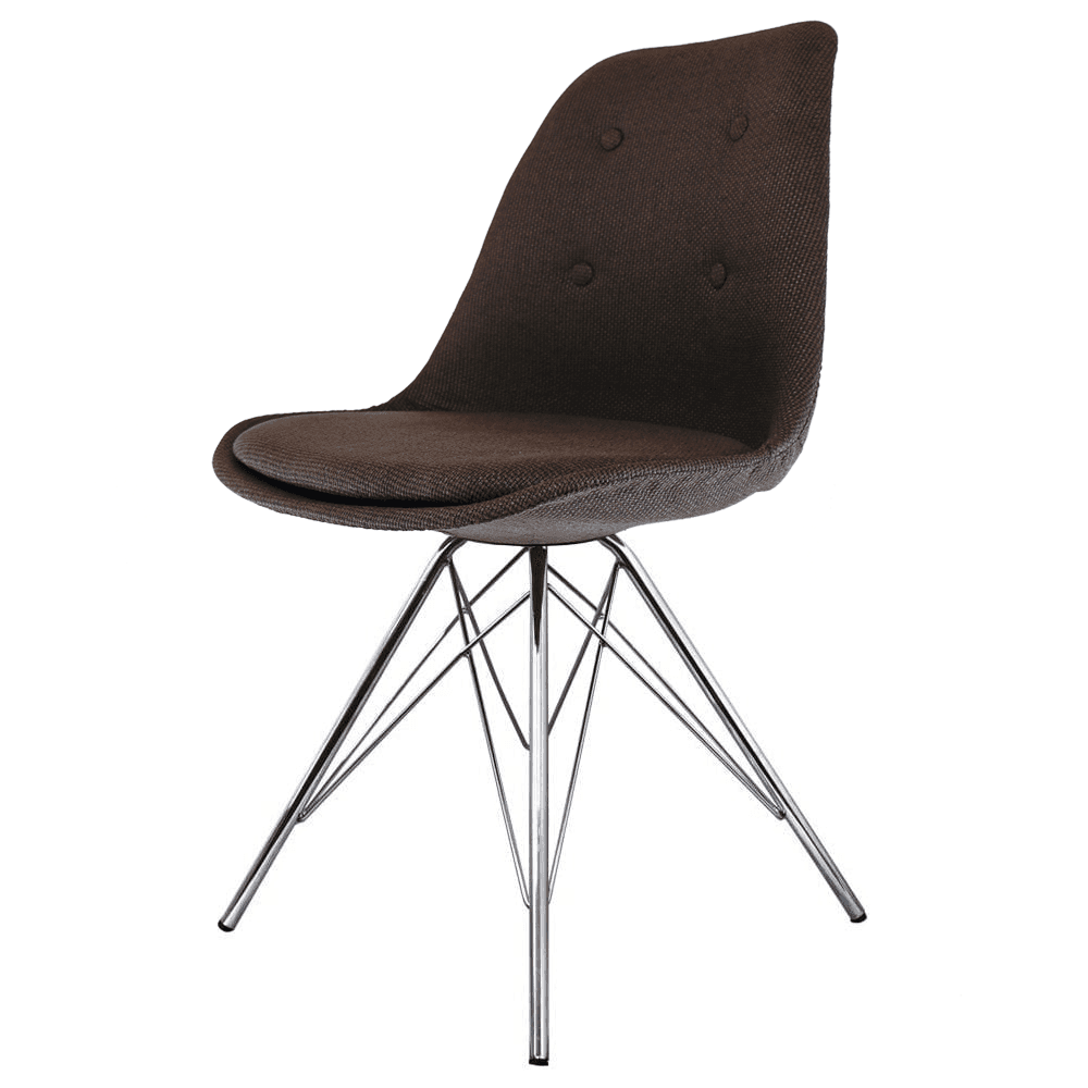Buy Eiffel Inspired Brown Fabric Dining Chair With Chrome