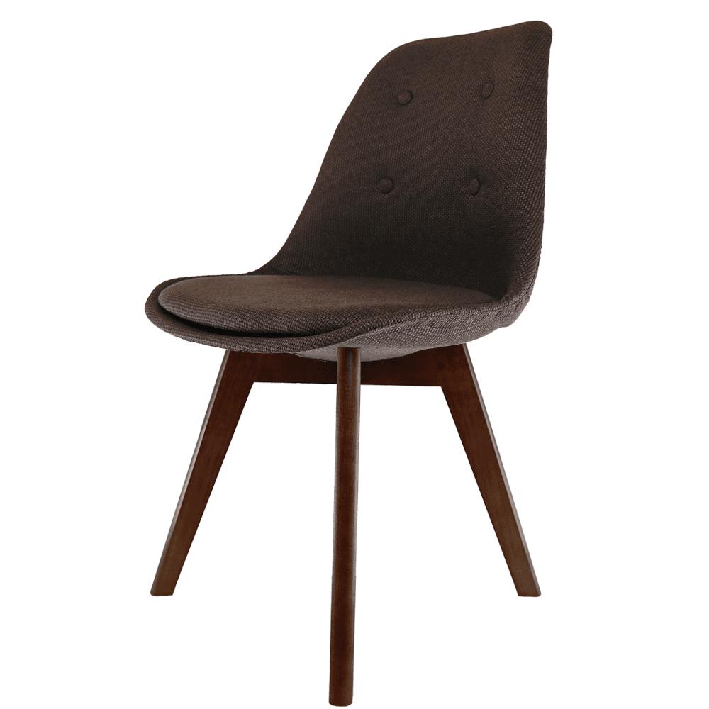 dark wood dining chairs. Eiffel Inspired Brown Fabric Dining Chair With Squared Dark Wood Legs Chairs G