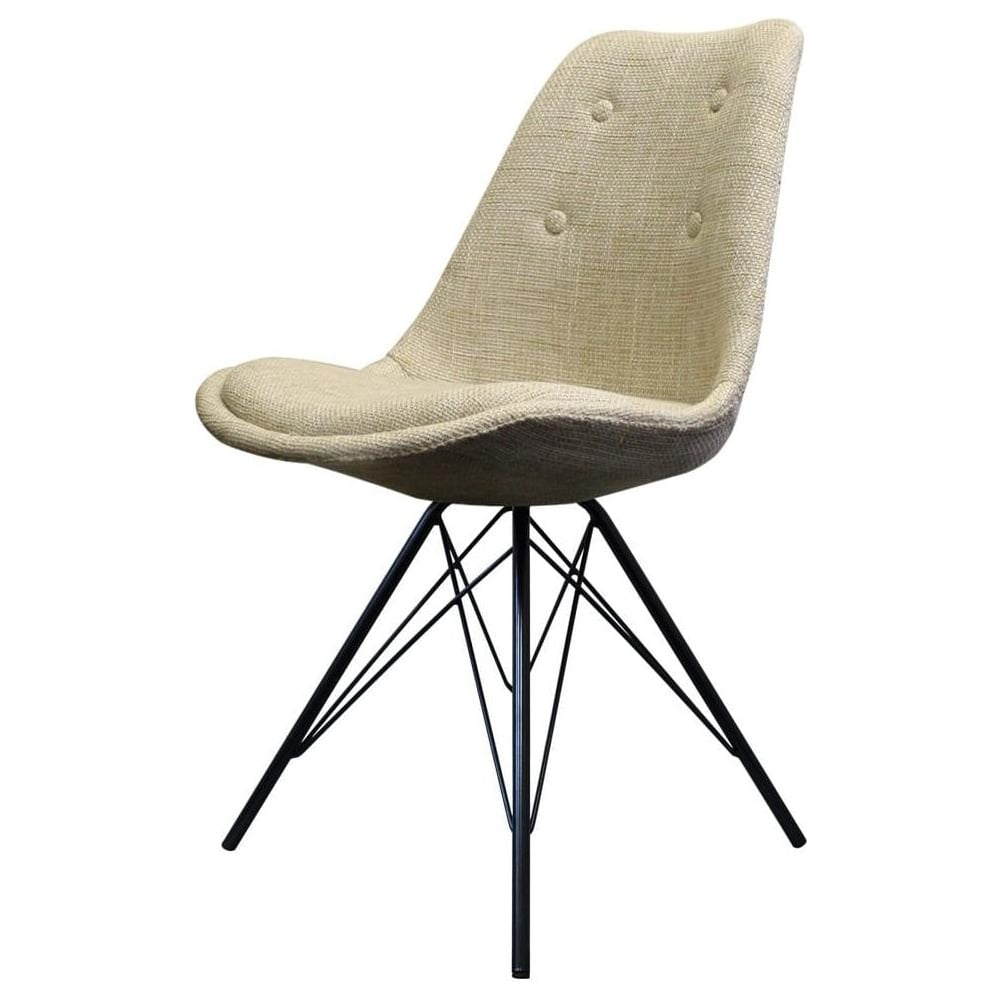 new style bb943 e5e9b Fusion Living Eiffel Inspired Cream Fabric Dining Chair with Black Metal  Legs