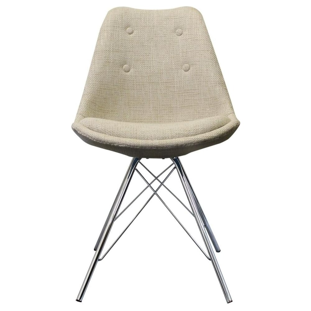Buy Eiffel Inspired Cream Fabric Dining Chair With Chrome Metal Legs