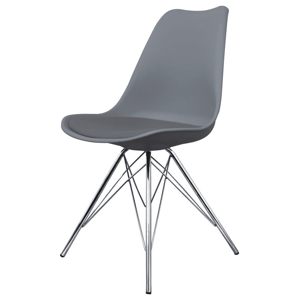 Eiffel Inspired Dark Grey Plastic Dining Chair With Chrome