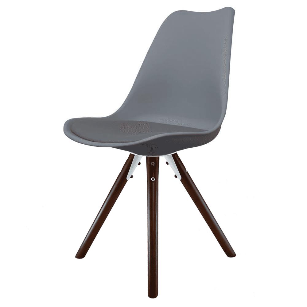 Eiffel Inspired Dark Grey Plastic Dining Chair With Pyramid Dark Wood Legs