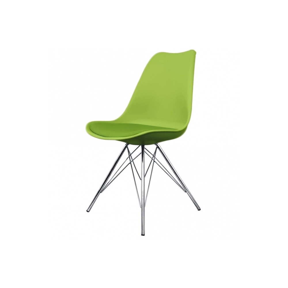 Eiffel Inspired Green Plastic Dining Chair With Chrome Metal Legs