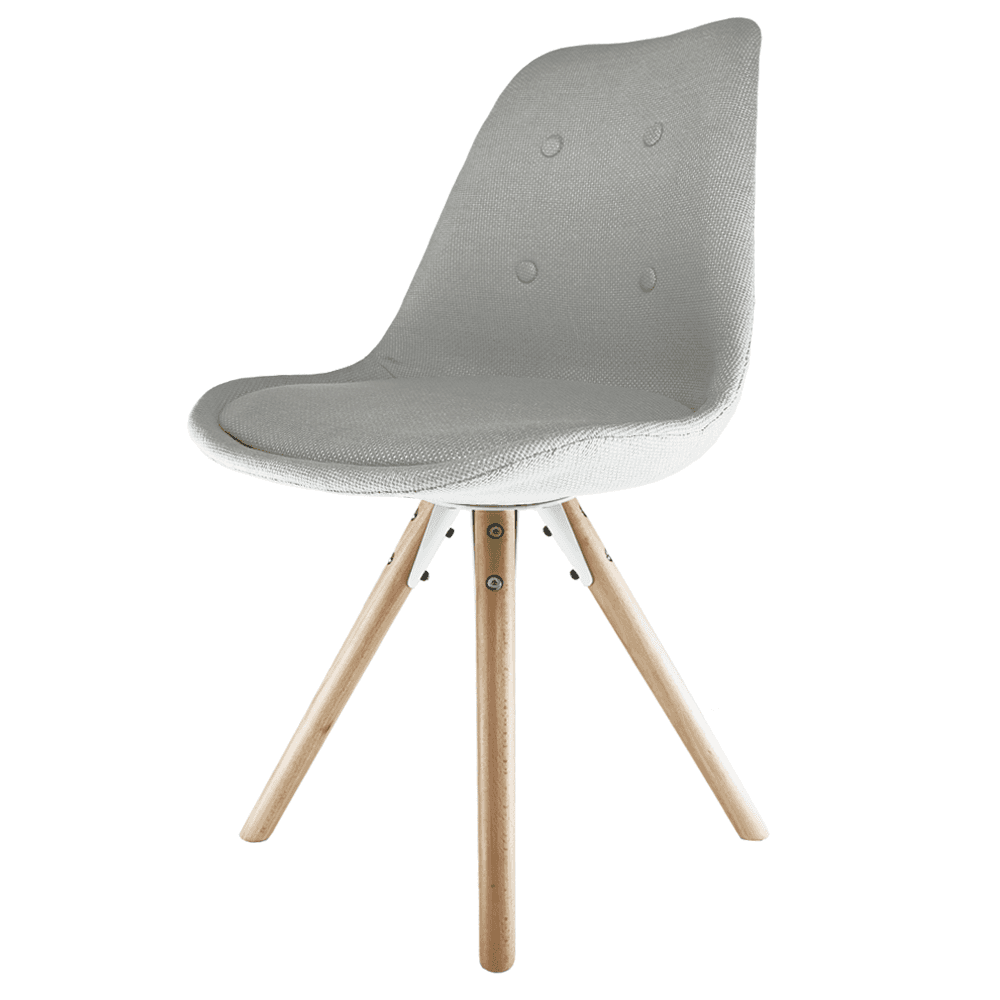 Eiffel Inspired Grey Fabric Dining Chair With Pyramid Light Wood Legs