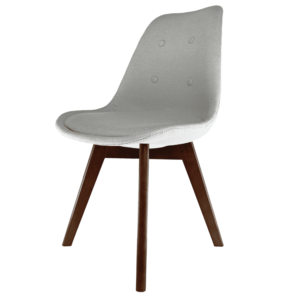 Eiffel Inspired Grey Fabric Dining Chair With Squared Dark Wood Legs