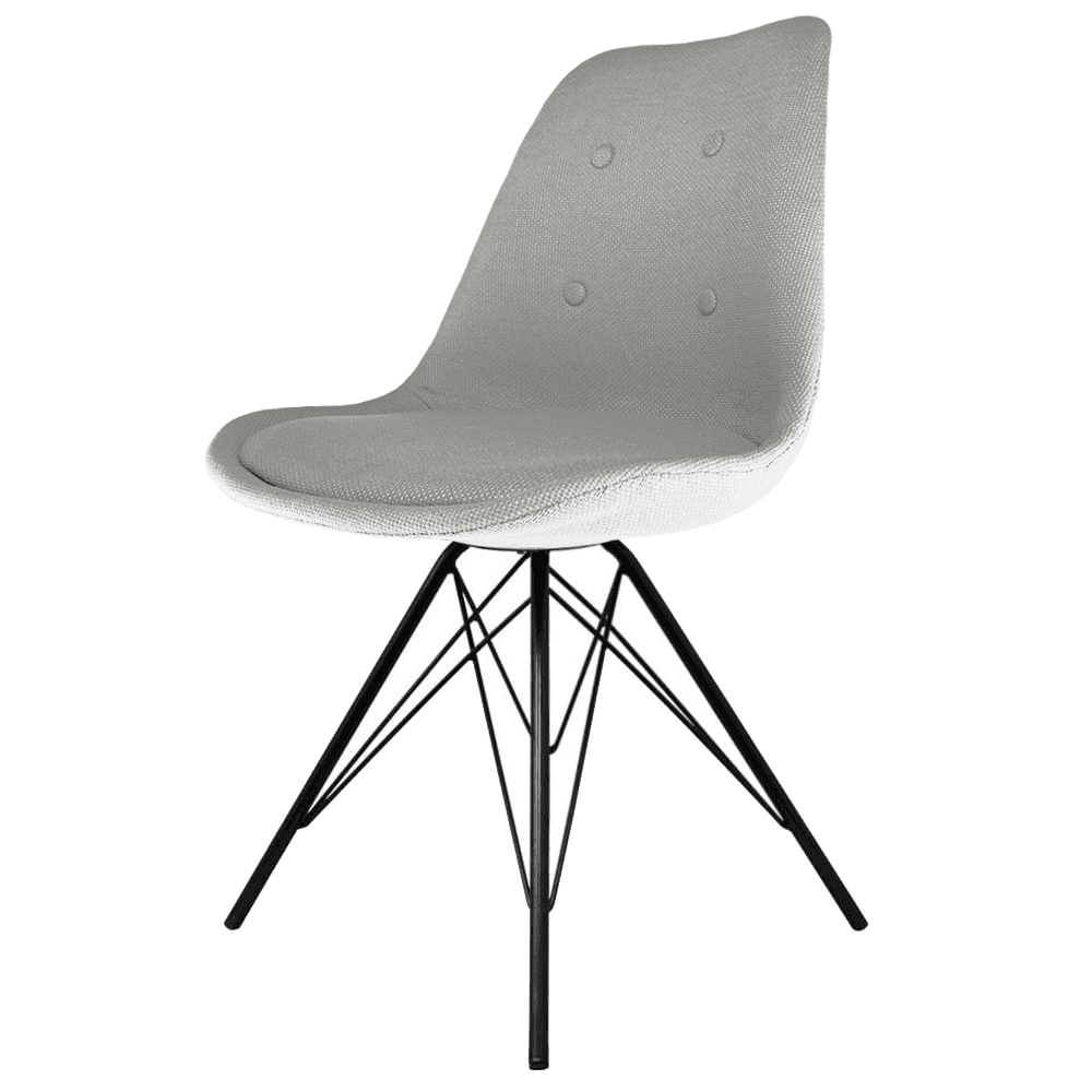 eiffel inspired light grey fabric dining chair with black metal legs. Black Bedroom Furniture Sets. Home Design Ideas
