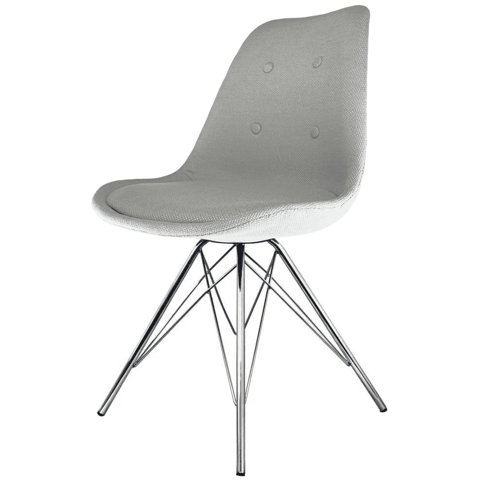 Eiffel Inspired Light Grey Fabric Dining Chair With Chrome Metal Legs