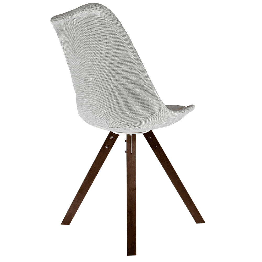 573d230070d Eiffel Inspired Light Grey Fabric Dining Chair with Square Pyramid Dark  Wood Legs