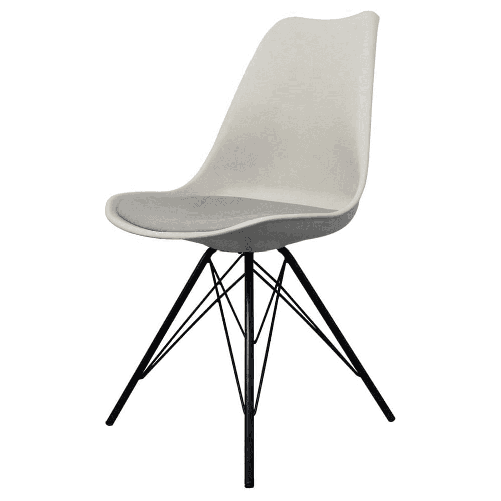 Lovely Eiffel Inspired Light Grey Plastic Dining Chair With Black Metal Legs