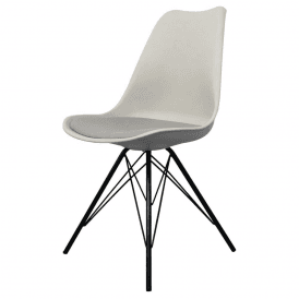 Eiffel Inspired Light Grey Plastic Dining Chair With Black Metal Legs