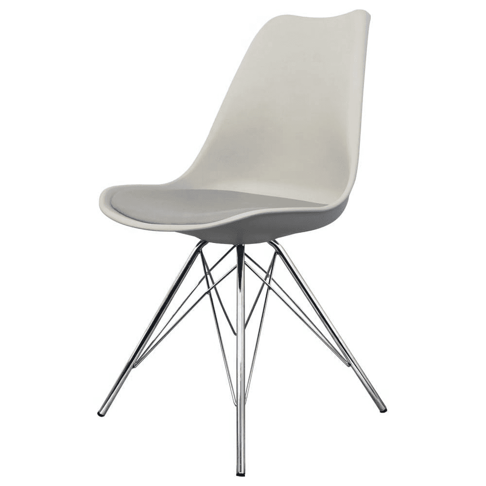 Eiffel Inspired Light Grey Plastic Dining Chair With Chrome Metal Legs