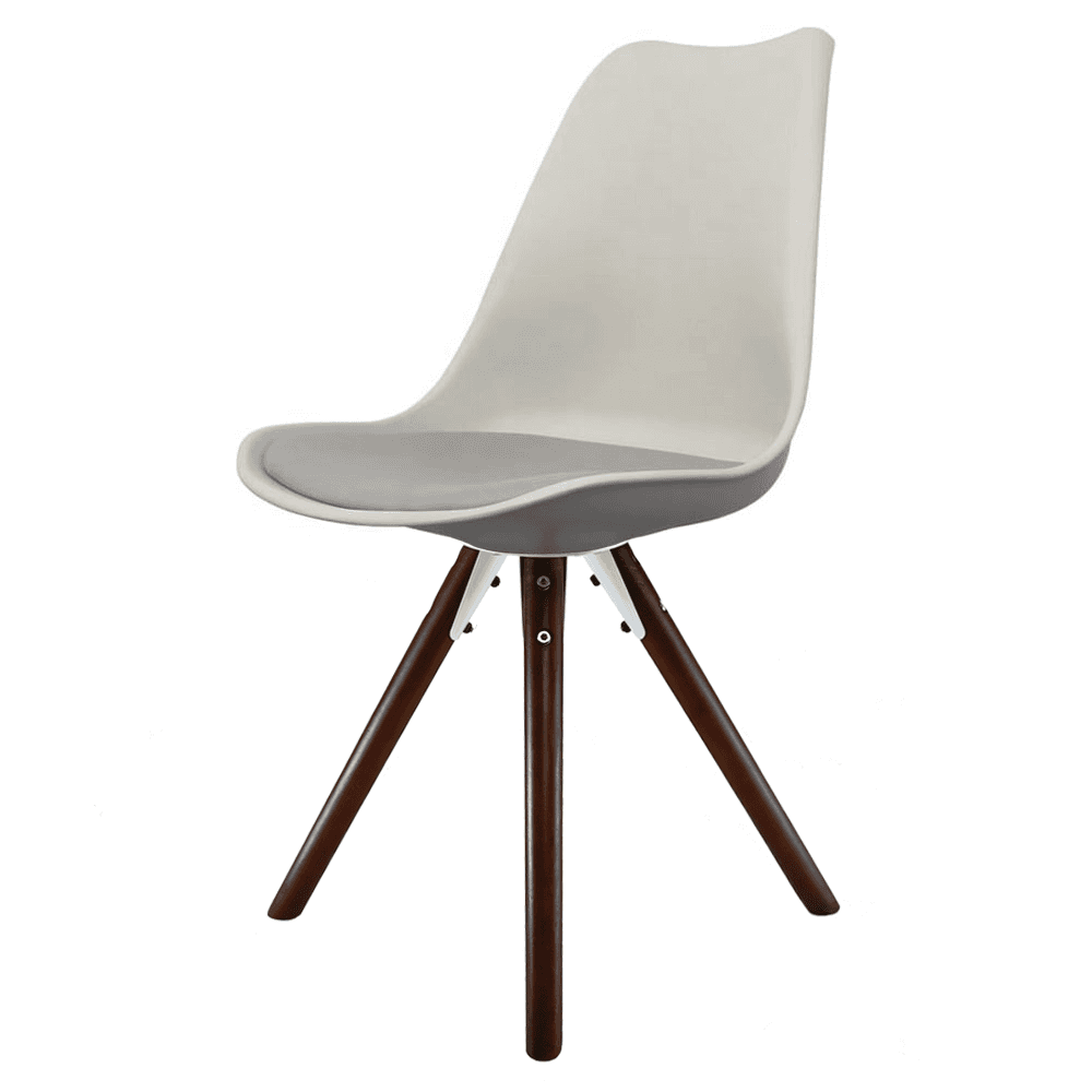 Genial Eiffel Inspired Light Grey Plastic Dining Chair With Pyramid Dark Wood Legs