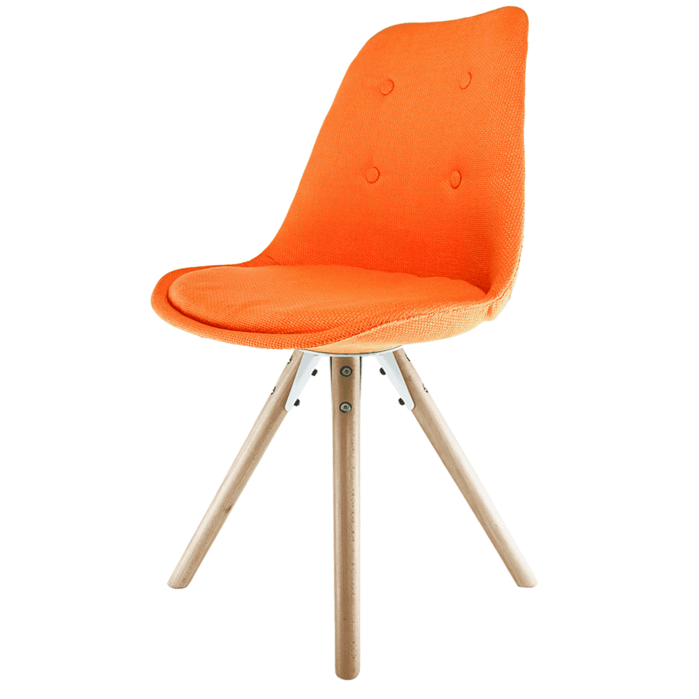 Eiffel Inspired Orange Fabric Dining Chair With Pyramid Light Wood Legs