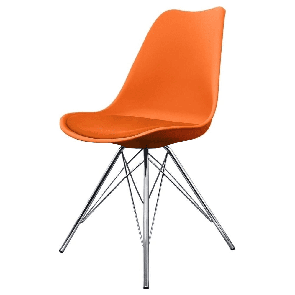 Beau Eiffel Inspired Orange Plastic Dining Chair With Chrome Metal Legs