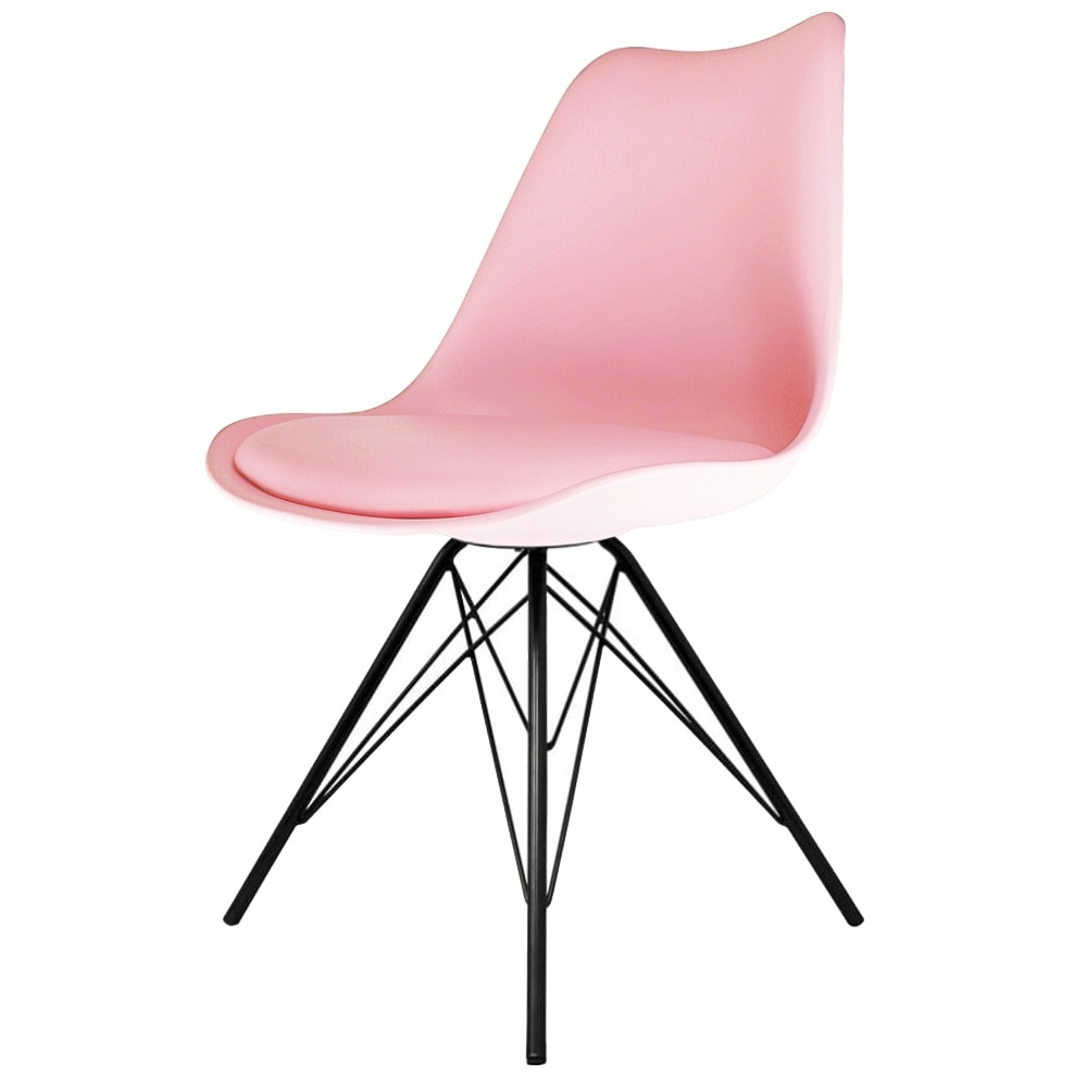 Eiffel Inspired Pastel Pink Plastic Dining Chair With Black Metal Legs