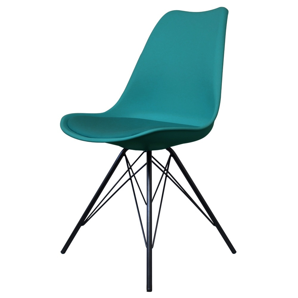 Eiffel Inspired Teal Plastic Dining Chair With Black Metal Legs