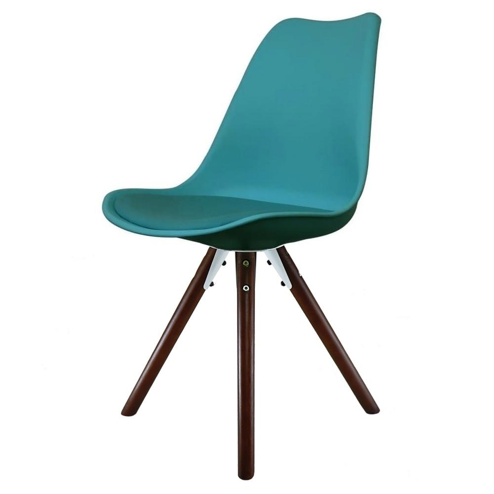 Eiffel inspired teal plastic dining chair with pyramid dark wood legs