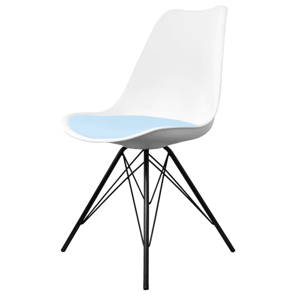Buy eiffel inspired white and blue dining chair with black for Blue and white dining chairs