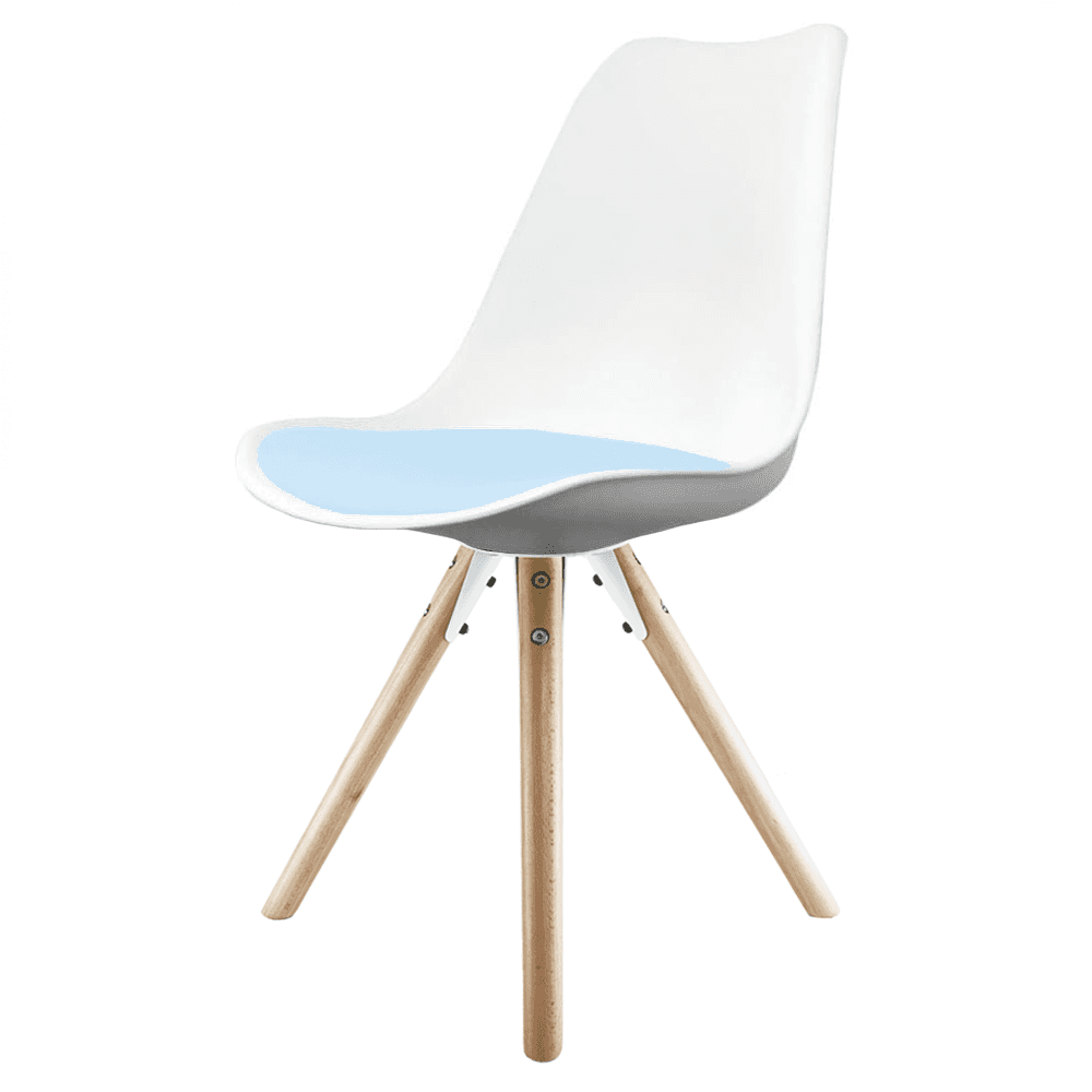 Eiffel inspired white blue dining chair natural beech for Blue and white dining chairs