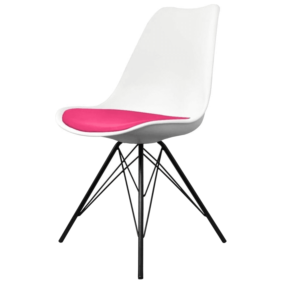 Awesome Eiffel Inspired White And Bright Pink Dining Chair With Black Metal Legs Creativecarmelina Interior Chair Design Creativecarmelinacom