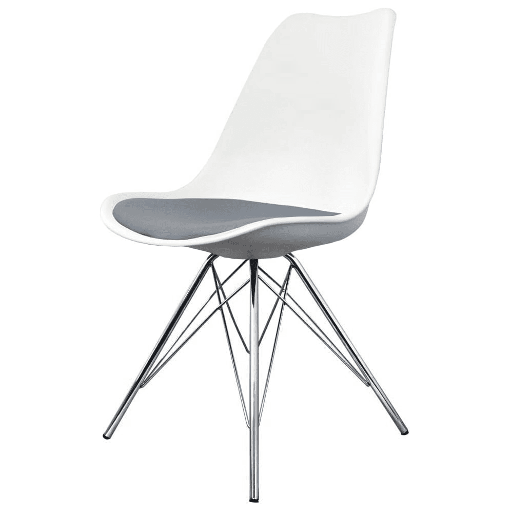Buy Eiffel Inspired White And Grey Dining Chair With