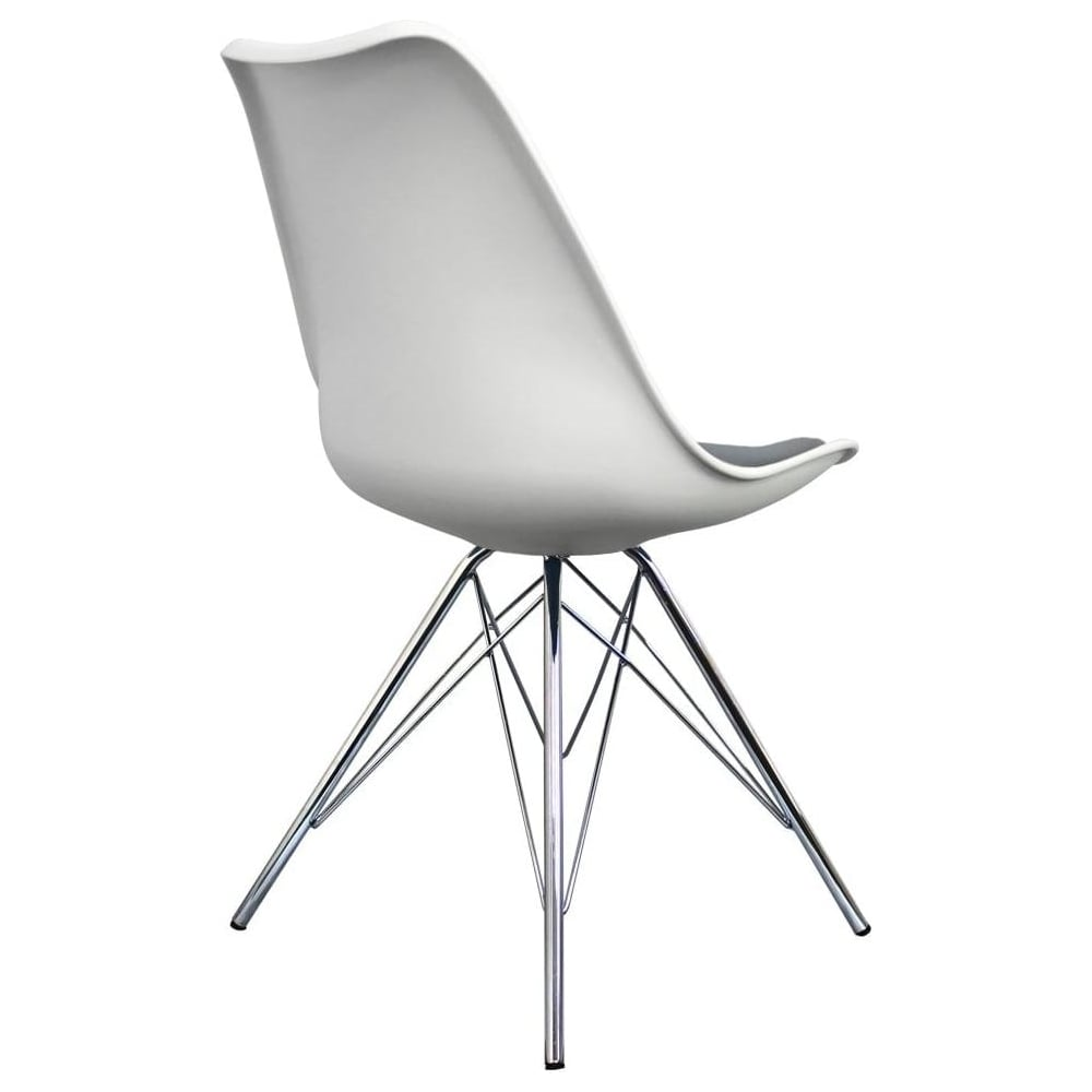 Eiffel Inspired White And Dark Grey Dining Chair With Chrome Metal Legs