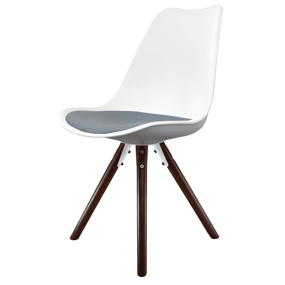 Eiffel Inspired White & Grey Dining Chair with Pyramid ...
