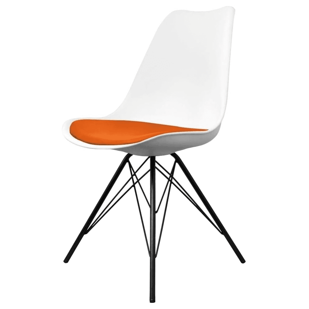 Strange Eiffel Inspired White And Orange Dining Chair With Black Metal Legs Caraccident5 Cool Chair Designs And Ideas Caraccident5Info