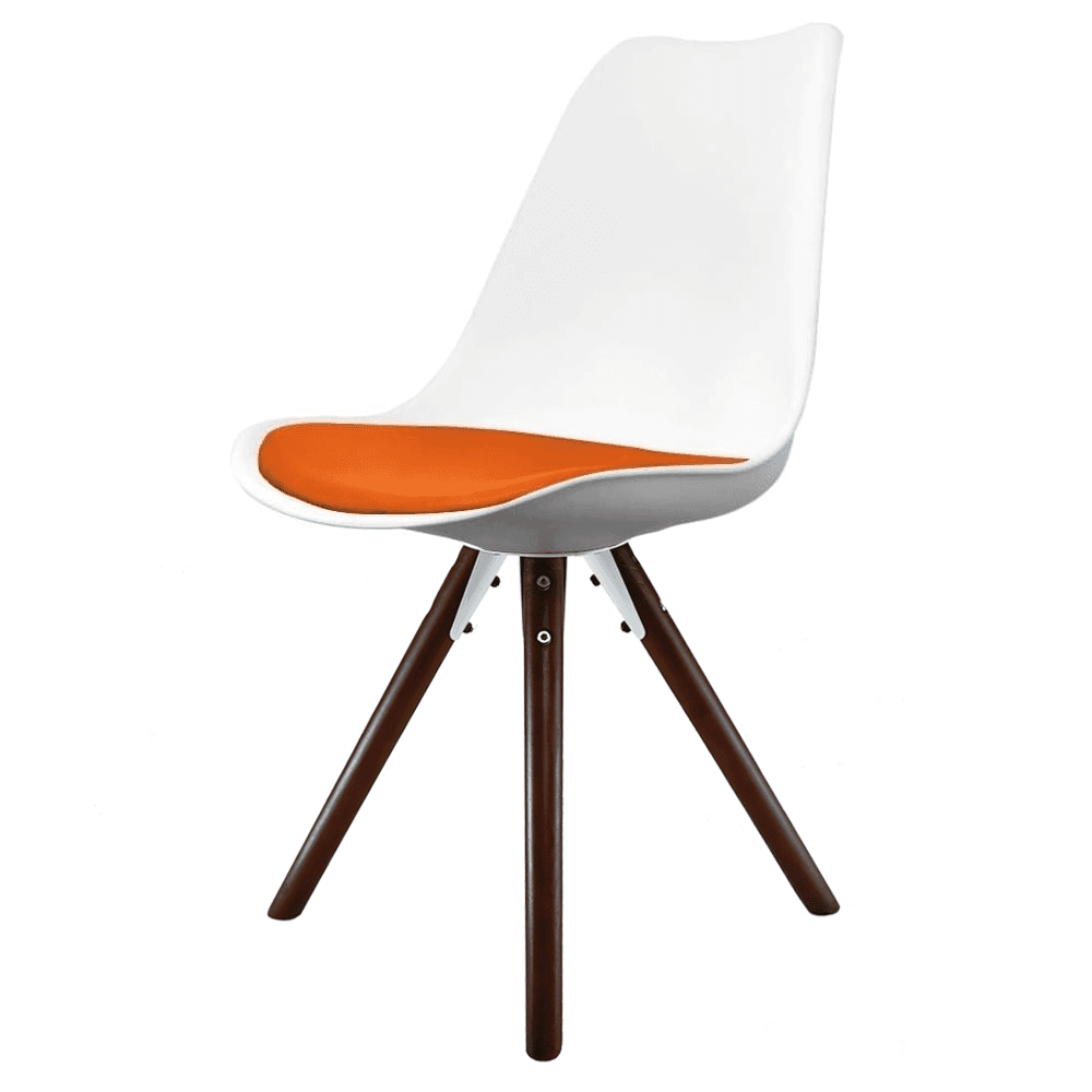 Eiffel Inspired White And Orange Dining Chair With Pyramid Dark Wood Legs