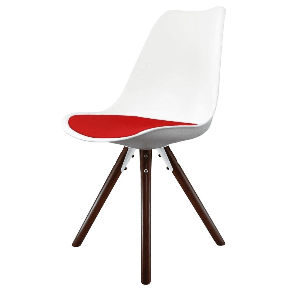 Eiffel inspired white and red dining chair with pyramid dark wood legs