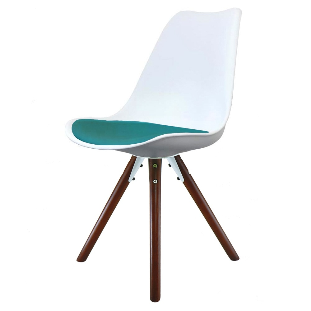 Eiffel Inspired white & teal Dining Chair with Pyramid ...