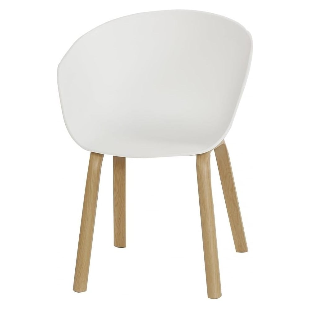 Eiffel Inspired White Plastic Armchair With Light Wood Legs