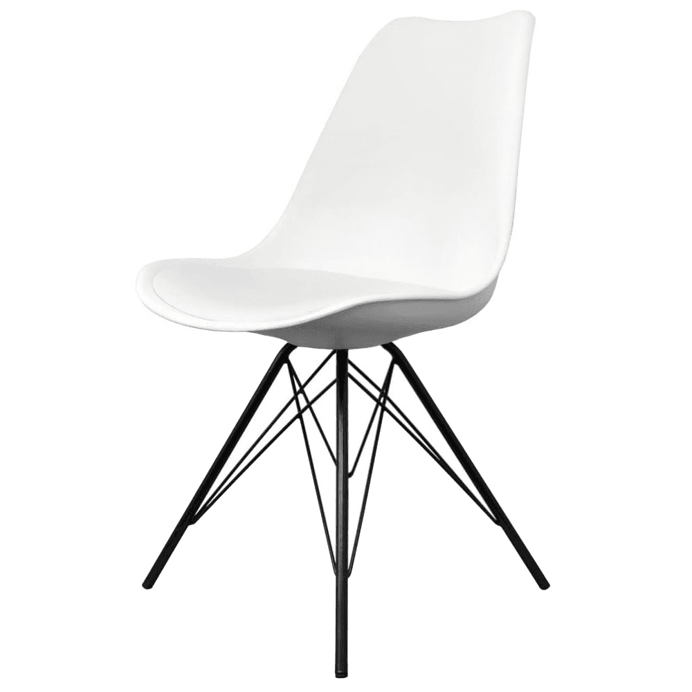 Incredible Fusion Living Eiffel Inspired White Plastic Dining Chair With Black Metal Legs Bralicious Painted Fabric Chair Ideas Braliciousco