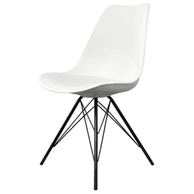 Eiffel Inspired White Plastic Dining Chair with Black Metal Legs