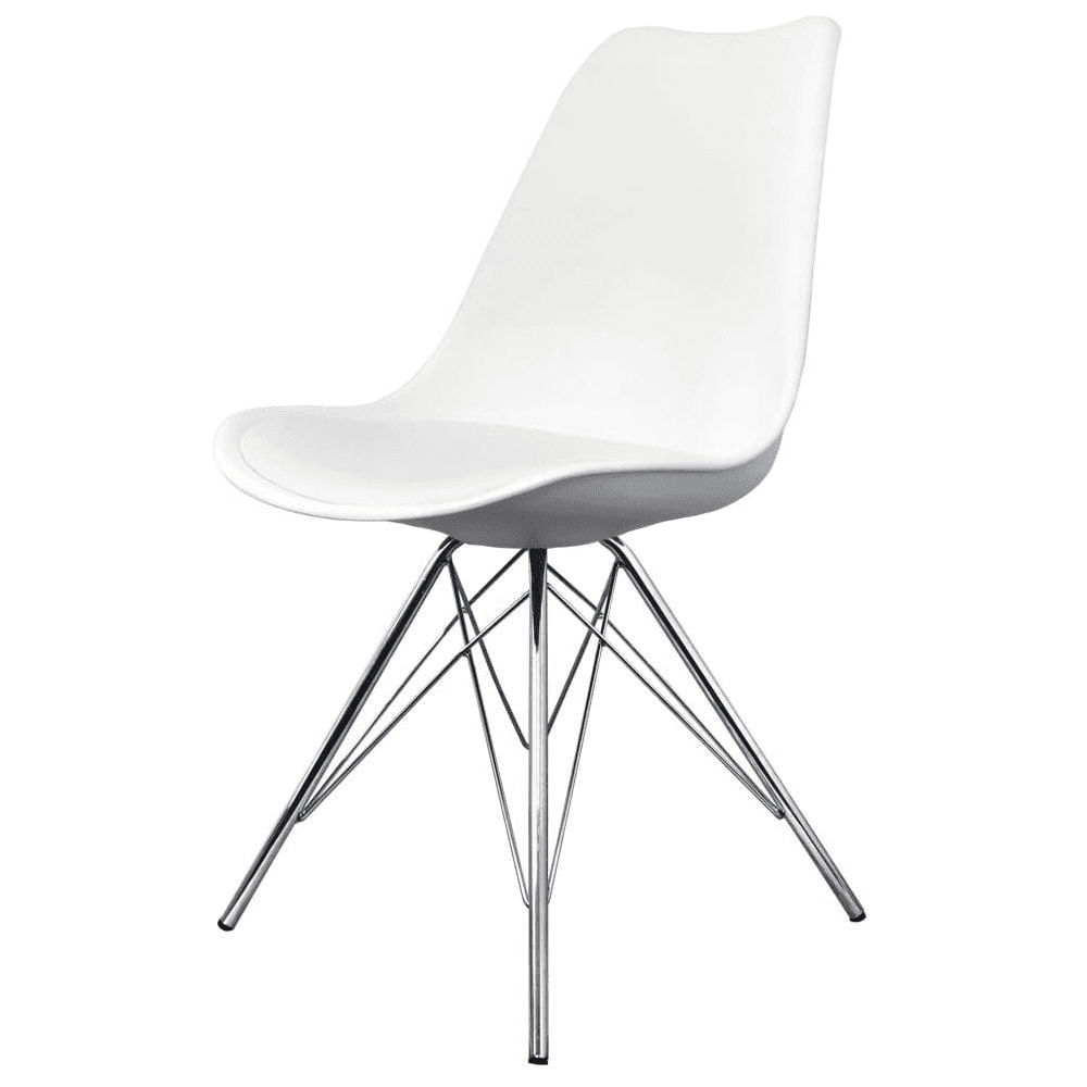 Beautiful Eiffel Inspired White Plastic Dining Chair With Chrome Metal Legs