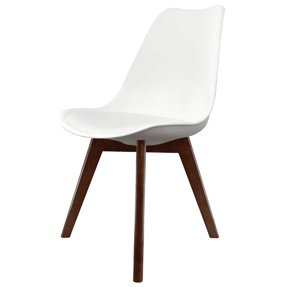 Eiffel Inspired White Plastic Dining Chair With Squared Dark Wood Legs