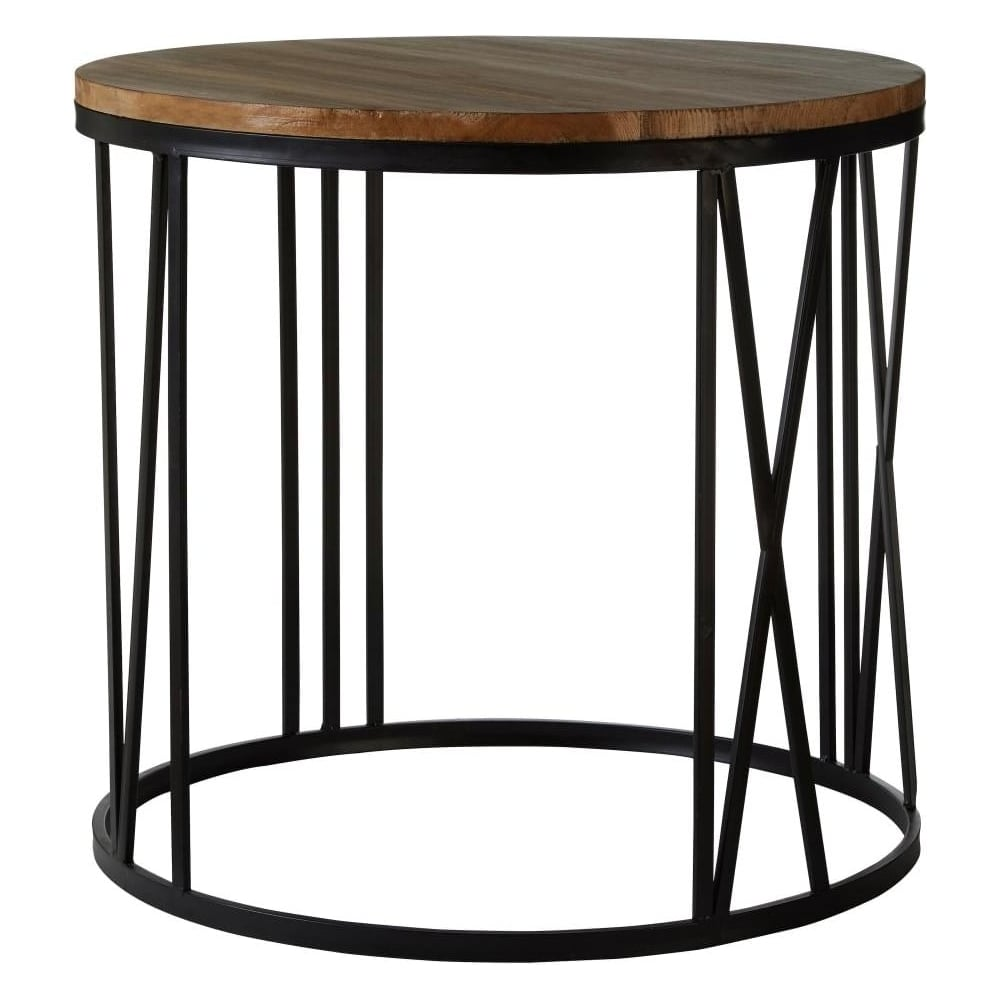 Fir wood and distressed black metal side table
