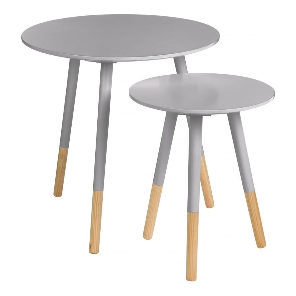 Grey Circular Side Tables With Beech Tipped Legs