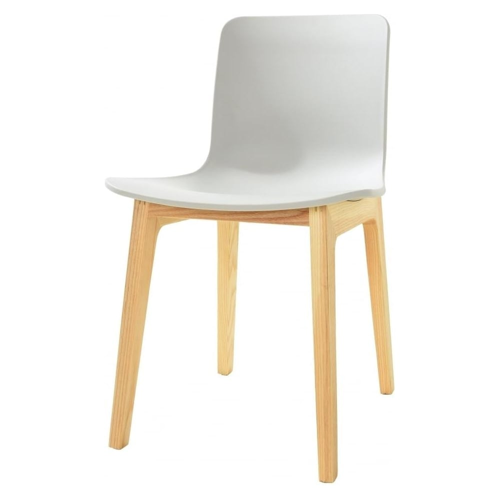 Grey Plastic Contemporary Dining Chair With Light Wood Legs