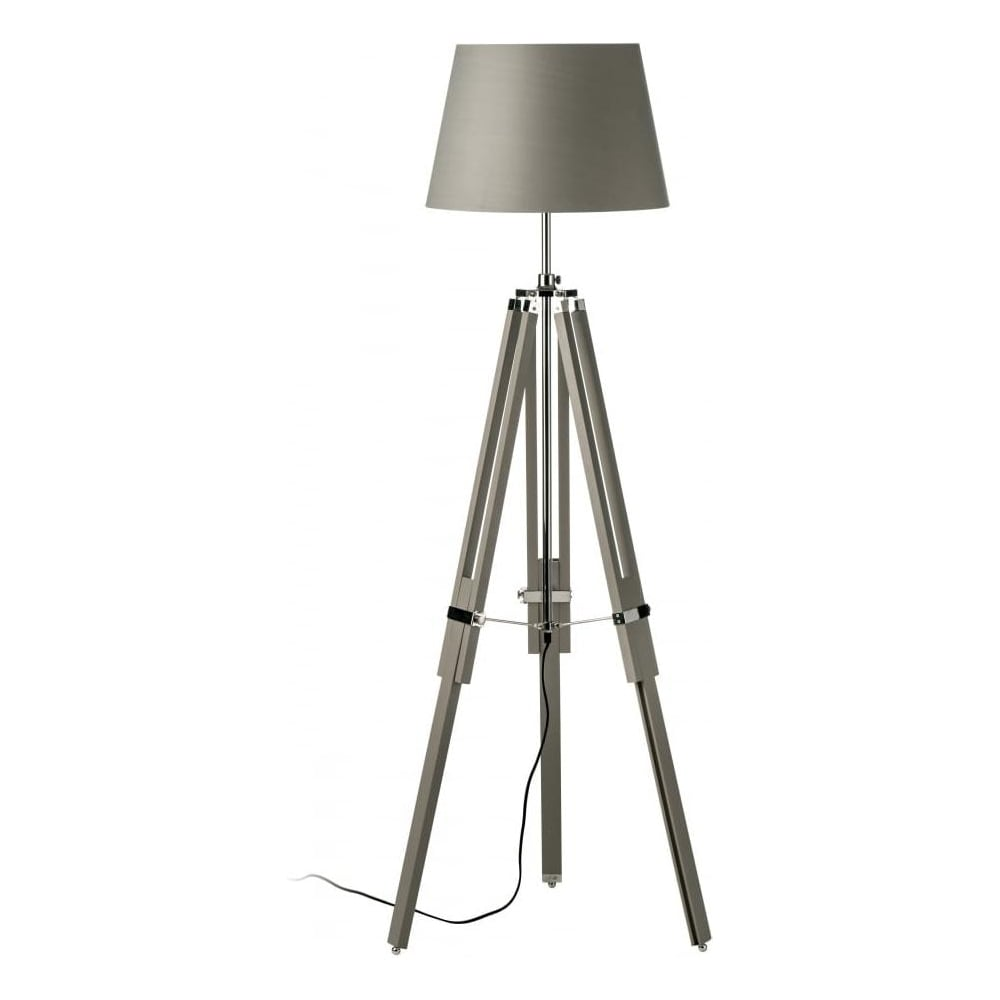 Buy this grey wood and chrome tripod floor lamp from for Tecton chrome floor lamp