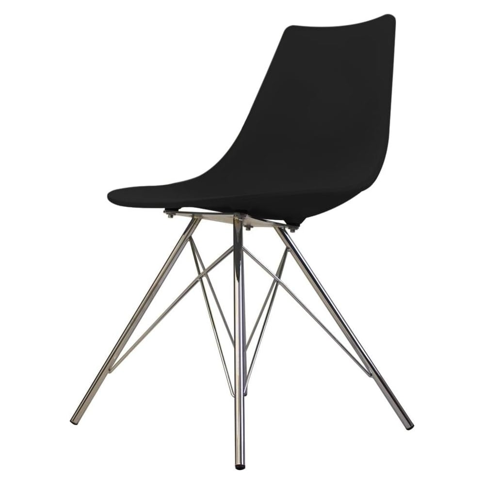 Iconic black plastic dining chair with chrome metal legs for Black plastic dining chairs