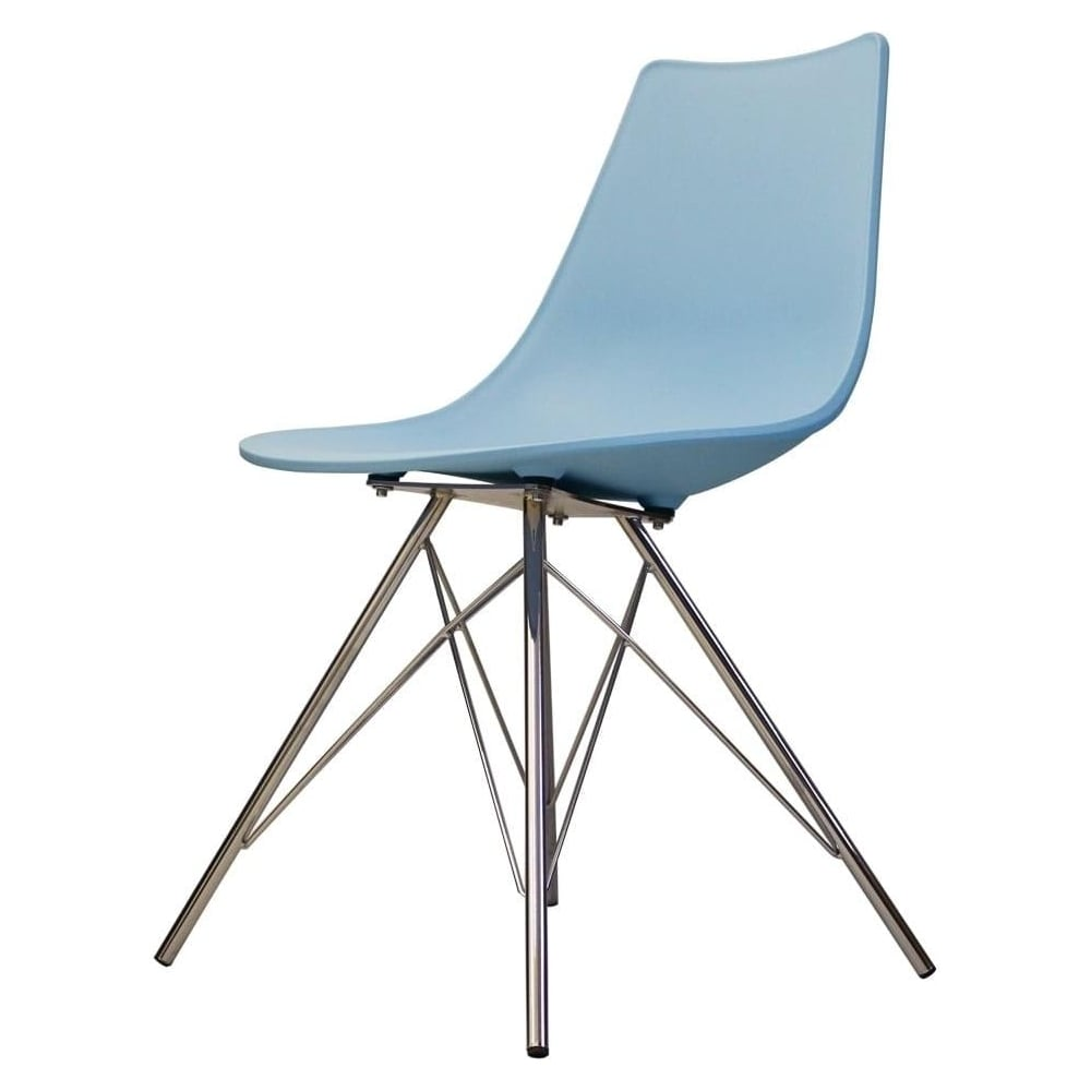 Iconic Blue Plastic Dining Chair With Chrome Metal Legs