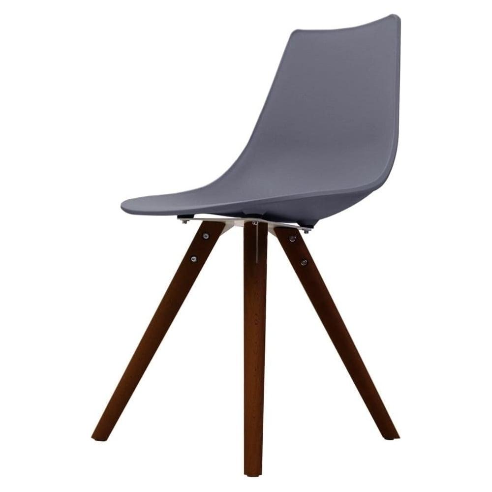 Iconic Dark Grey Plastic Dining Chair with Dark Wood Legs ...