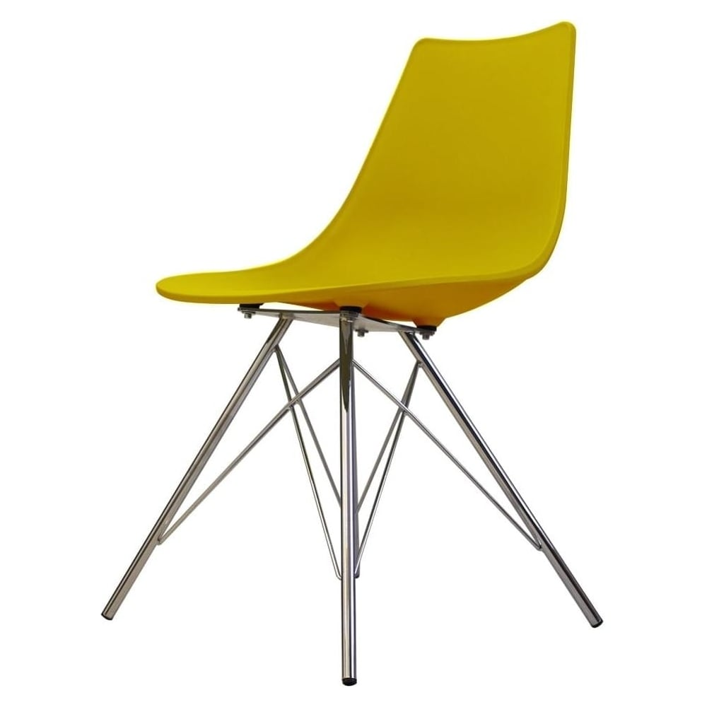plastic metal chairs. Iconic Mustard Plastic Dining Chair With Chrome Metal Legs Chairs