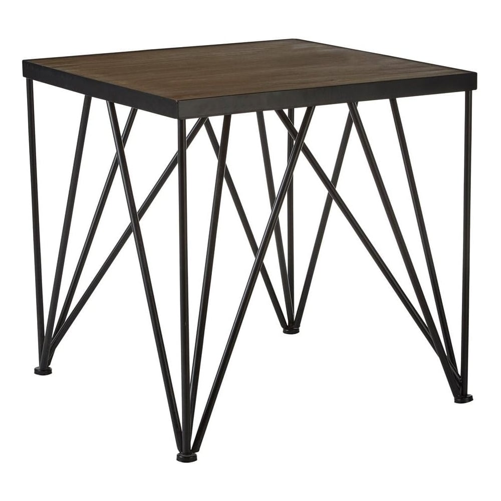 Fusion Living Industrial Style Dark Wood And Metal Square Side Table