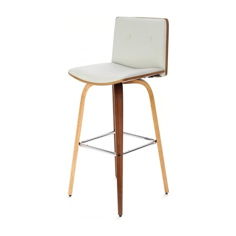 Buy Ivory White Leather Walnut Button Back Bar Stool At