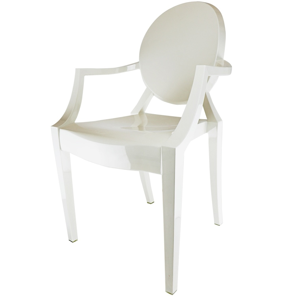 Ivory White Ghost Style Plastic Louis Armchair
